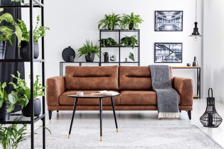 Ferienwohnung einrichten, Nachhaltigkeit, Wohnzimmer, nachhaltiges Leder für Sofa und Möbel