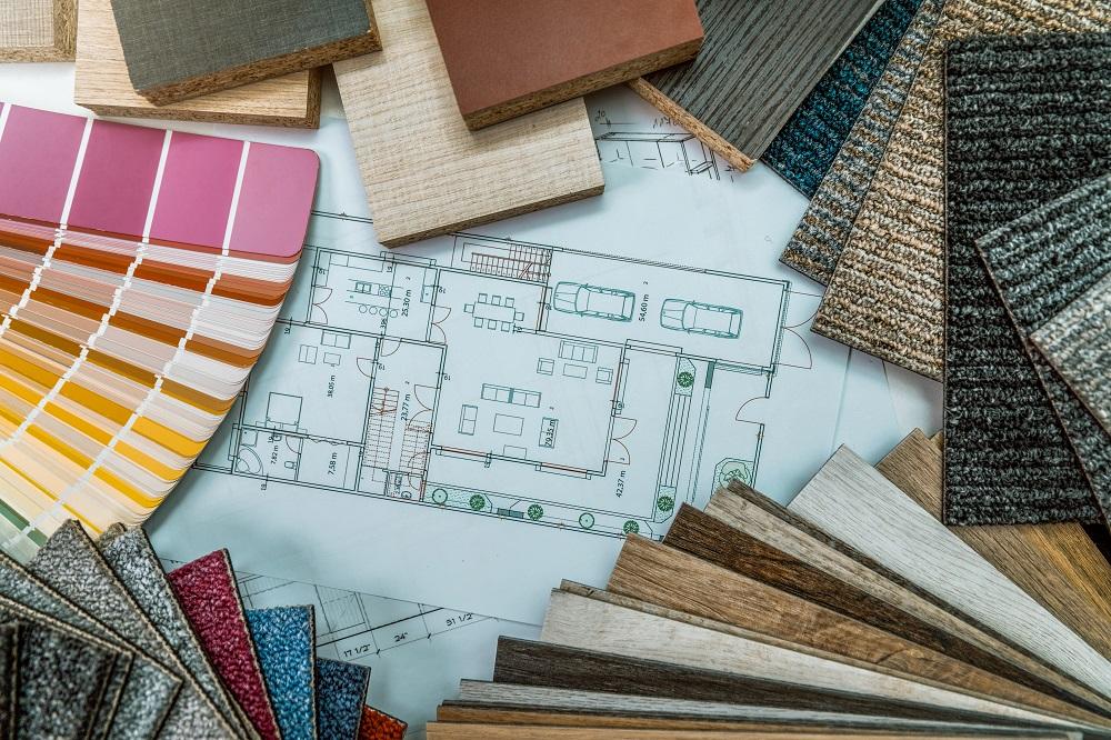 Bodenbelaege Muster und Architekturplan für ein Haus