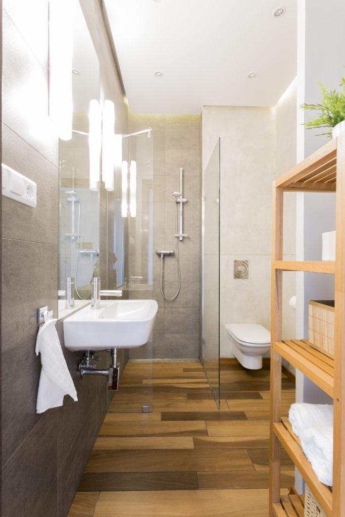 Badezimmer Loft, Holzboden